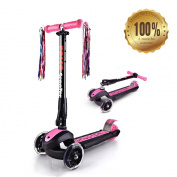 YOLEO New Generation Height Adjustable 3 Wheels Folding Kids Scooter - With Strong Aluminium Frame and Special Lovely Glowing Wheels