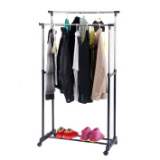 Zimtown Rolling Dual-bar Stretching Clothes Rack Hanger with Shoe Shelf Silver Wheeled
