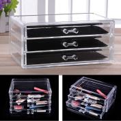 Zimtown Acrylic Clear Makeup Case Cosmetics Organiser 3 Drawer Display Storage Box