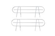 HSS Wire Shelf Side Ledge, Fits on 46cm deep shelf, Chrome Colour, 2-PACK