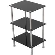 AVF Small 3-Shelf Unit, Black Glass and Chrome, S33-A