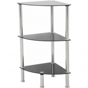 AVF 3-Shelf Corner Unit, Black Glass and Chrome, S53-A