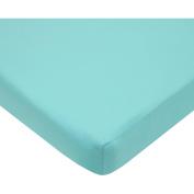 TL Care Cotton Percale Fitted Mini Crib Sheet, Aqua
