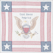 Stamped White Wall Or Lap Quilt, 90cm x 90cm , God Bless America