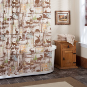 Excell Adirondack 100 percent PEVA Shower Curtain, 180cm x 180cm , Brown