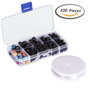 Paxcoo 300pcs Lava Stone Rock Beads with Crystal String for Jewellery Making