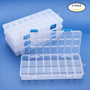 BENECREAT 4 Pack 24 Grids Jewellery Dividers Box Organiser Adjustable Clear Plastic Bead Case Storage Container 21.7x10x3cm, Compartment