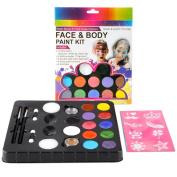 Face Paint Kit Safe & Non-Toxic 12 Colour Paints + 2 Glitters + 30 Popular Stencils + 2 Versatile Brushes, 2 Sponges, 2 Double-headed Brush Paints 60 - 80 Faces Fun for Party and Festival