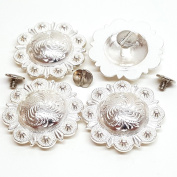 Set of 4, 2.5cm - 1.3cm Saddle Bright Silver Round Berry Concho W/ 0.6cm Chicago Screw Back