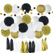35 Pcs Tissue Paper Pom Poms Flowers Kit + Paper Lanterns+ Hanging Dot paper Garland + Honeycomb Balls +Tissue Tassels for Wedding Party Decoration Birthday Kids Bridal Shower Baby Shower by Litaus