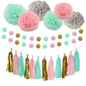 Party Decoration Kit - 23 Pcs Pink Mint Tissue Paper Poms Polka Dot Garlands Hanging Tassels for Birthday Party / Wedding / Bay Shower