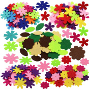 SOOKOO 5 Shapes 150 PCS Felt Flowers Fabric Flower Embellishments for DIY Crafts Sewing Handcraft, Assorted Colour