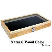 Mooca Colour Wood Jewellery / Bead Storage Box in TEMPERED Glass Top Lid With Velvet Black Pad Display Box Case Medals Awards Jewellery Knife
