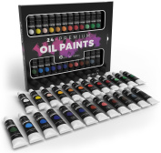 Castle Art Supplies Oil Paint Set for Artists or Beginners - 24 Vivid Oil Colours - Professional Painting Kit