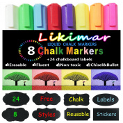 Chalk Markers for Chalkboards Erasable Liquid Marker Pens for Kids-CHILDREN FRIENDLY, Reversible Tips for Windows, Bistro, Glass, Whiteboards+ Free Chalk Labels