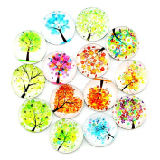 Ktdorns Abstract Tree Fridge Magnets -14 Pack Refrigerator Magnets, Office Magnets, Calendar Magnet, Whiteboard Magnets,Perfect Decorative Magnet Set with Storage Box
