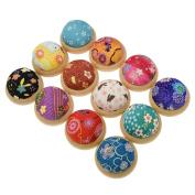 Floral Hemisphere Pin Cushion Wood Base Needle Sewing Accessory Random Colour 1PC