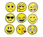 Emoji Embroidery Applique Decoration DIY Patch Set of 9 funny Custom design Emojies face kit iron on for shirt Jacket bag hat pant vest jean cotton clothes kid will love Great as happy birthday gift