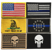 Bundle 6 pieces Full Colour USA American Thin Blue Line Police Flag Three Percenter Tactical Don't Tread On Me Fully Embroidered Morale Tags Patch
