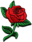 Red rose tattoo love 70s retro biker embroidered applique iron-on patch new