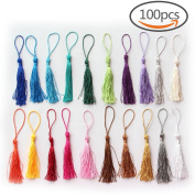 Creatrill 100 Pcs 13cm/5 Inch Silky Handmade Soft Craft Mini Tassels with Loops for Jewellery Making, DIY Projects, Bookmarks, 20 Colours, 5 Pcs of Each