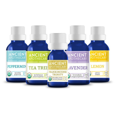 Ancient Apothecary Essential Oil Starter Kit - Certified Organic and Therapeutic Grade Frankincense, Lavender, Tea Tree, Lemon and Peppermint