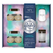 Glade Atmosphere Collection, No.1 (Jasmine Cedarwood) 1 Warmer + Plugins Air Freshener Refill (4 x 90ml) + Crafted Soy Candle