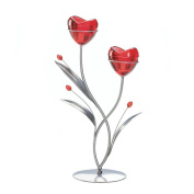 Flowers Candle Holders, Rose Coloured Decorative Glass Candle Holder Decor