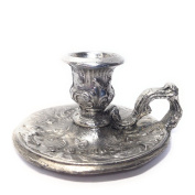 Small Chamberstick Candle holder, Cast, Metal Alloy with Tin Coating