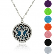 Aromatherapy Necklace Tree of life essential oil diffuser pendant locket gift jewellery with 5 Refill Pads