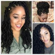 (6Packs)46cm Curly Faux Locs Soft Hair Deep Faux Locs Twist Braids Goddess Locs Crochet Braiding Hair Braids Mambo Hair Extension 24Roots/Pack