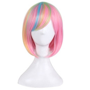 MOCOO Short Bob Wigs Full Colourful Straight Cosplay Hair Synthetic Wigs for Women Party ( Green Pink Light Blue Gold ) with Wig Cap JF066G