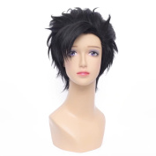 NiceLisa Short Layered Black Anime Cosplay Wig for Boy Synthetic Hair Wigs