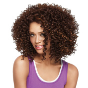 AISI HAIR Synthetic Afro Curly Hair Wig Shoulder Length Wigs for Black Women Mix Brown Wigs Two Tone Wig Heat Resistant Wig