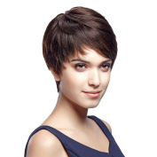 SLEEK 13cm Cute Straight Pixie Wig with Side Swept Bangs (Dark Brown, Short Layered Brazilian Hair) - Short Wigs for Women - Human Hair Wigs for White Women - Pixie Cut Wig Caucasian Wig HH CINDY-W