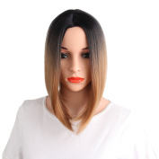 AisiBeauty Ombre Bob Cut Wigs Short Straight Brown Short Straight Ombre Brown Wig that Look Natural Wig Heat Resistant Synthetic Wigs for Women