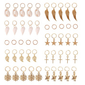 KeyZone 50 Pieces Gold Shell Leaves Star Conch Snowflake Pendant Charms Rings Set Hair Clip Headband Accessories