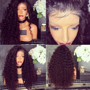 Lanting Synthetic Lace Front Wig #1B Kinky Curly Front Lace Wigs Heat Resistant Fibre Hair Half Hand Tied Synthetic Wigs 8-70cm . 60cm Lace Front Wig