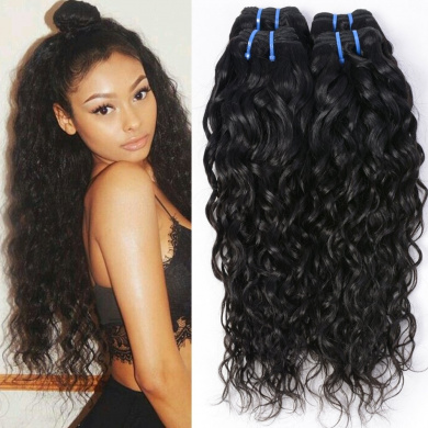 Wet and Wavy Human Hair Weave Bundles Malaysia Virgin Human Hair Bundles Water Wave Weft Water Wavy Human Hair Weave 4 Bundles (20 22 24 26)