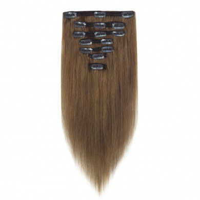 FRTSTLIKE Silky Stright Human Hair Extensions,7 Pieces 15 Clips Human Hair Extensions for Hight Quality.(50cm , Light Brown)