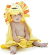 Little Tinkers World Lion Hooded Baby Towel, Natural Cotton, 80cm x 80cm