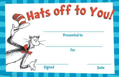 Eureka Cat in the Hat Hats Off to You! Set of 36 Recognition Awards