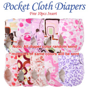 10pcs+10 INSERTS Adjustable Reusable Lot Baby Washable Cloth Nappy Nappies (minky girl colour