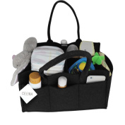 Ceewa Baby Nappy Caddy - Luxury Portable Nappy Storage Caddy and Nursery Storage Bin for Nappies, Baby Wipes, Toys and Nursery Storage with Changeable Compartments, Large, Black