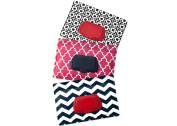 Be Bundles Wet Wipes Pouch VERSION 2 - NEW replacement snap-on lid included, 3-Pack, Pink Lattice/Navy Chevron/Black Geometric