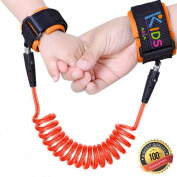 Toddler Safety Harness | Anti Lost Child Safety Wrist Link | Extra Safe Double Hook and loop Wrist Straps | Baby Soft Skin Friendly Hypoallergenic 100% Cotton | Orange