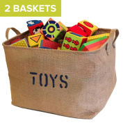 """2 Jute """"TOYS"""" 43cm Long Storage Bins (NEW! Thicker stronger Jute)- Storage Baskets for organising Baby Toys, Kids Toys, Baby Clothing, Children Books, Gift Baskets"""