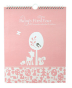 """Baby's First Year Calendar Keepsake with Milestone Stickers """"Woodland Baby"""" Baby Girl Record Keeping Calendars"""