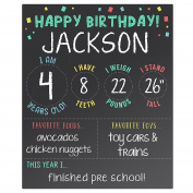 Pearhead Baby's My Birthday Keepsake Photo Sharing Chalkboard Sign, Black