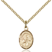 Gold Filled St. John of God Pendant 1.3cm x 0.6cm with Gold Filled Lite Curb Chain